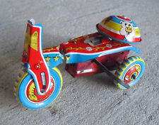 Vintage 1970s Japan Tin Litho Windup Tricycle Toy LOOK