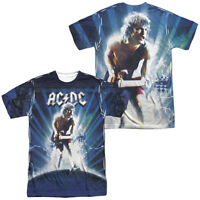 AC-DC ACDC Rock Band LIGHTNING 2-Sided Sublimated All Over Print Poly T-Shirt