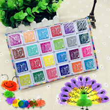 24 Color Multi-Color Ink Pads Children Fingerprint Picture Stamp Pads Pigment