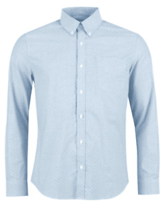 Ben Sherman Oxford Polka Dot Long Sleeve Mens Shirt, Sky Blue