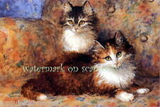 Vintg Art Pretty Mosaic Kitten Kittens Cat Cats on Couch~New Lge Note Cards