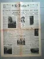 Fac similé Journal - LE MATIN 24 AOÛT 1939