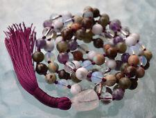 108 Seventh Chakra Rosary, Crown Chakra Mala, Hand knotted Mala Beads Necklace