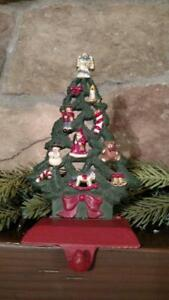 MIDWEST solid CAST IRON Decorated Tree CHRISTMAS Stocking HOLDER Hanger #A