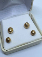 Beautiful 14K solid yellow gold two pair ball stud earrings size 8 mm and 7 mm