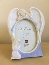 Russ Porcelain Photo Frame Gifts of Faith Praying Girl Guardian Angel 3.5x2.5""