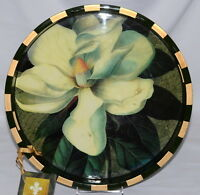"Annie Modica Magnolia * SERVING TRAY * Flower, 15"" Round, NEW/Flaw"