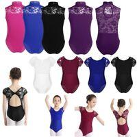 Girls Dance Leotard Lace Gymnastics Ballet Sleeveless Unitards Dancewear 2-14Yrs