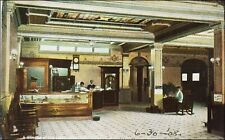 Lobby Interior, Jefferson Hotel, Pine Bluff, AR. People Working. Pre-1910 Tuck.