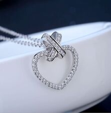 """Sterling Silver Cubic Zirconia CZ Open Heart Pendant Necklace 18"""" Gift Box K36A"""