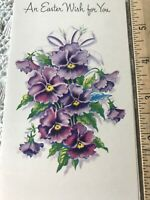 Vintage Easter Card Purple Pansies Charm Craft
