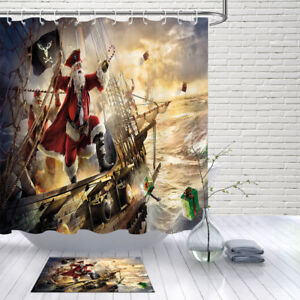 Polyester Waterproof Fabric Pirate Ship Santa Claus Shower Curtain Liner Hooks