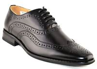 Boys Leather Lined Shoes Lace Up Wedding Smart Brogues Black Formal Size