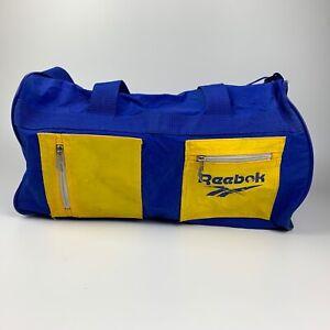 Vintage Reebok Gym Travel Duffel Shoulder Bag Blue Yellow
