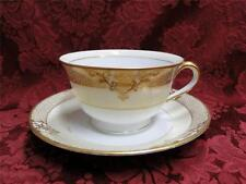 Noritake Marcisite, 87196, Gold Flowers, Cream Band: Cup & Saucer Set (s)