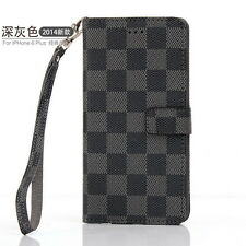 Luxury PU Leather Grid Wallet Flip Case Cover for iPhone 5S 6 7Plus Galaxy Note4