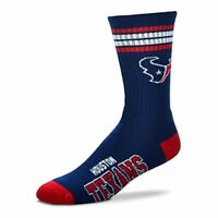 Houston Texans For Bare Feet NFL 4-Stripe Deuce Crew Socks SZ M