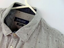 Zara Man Mens Slim Fit Large Gray Geo Button Front Casual Shirt Long Sleeve
