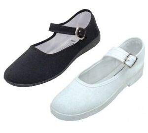 Women's Mary Jane Cotton Shoes Slippers Black or White Sizes 6 - 11 New