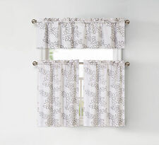Brielle Embroidered Floral Kitchen Curtain Tier & Swag Set - Assorted Colors