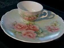 Vintage Schumann Arzberg  hand painted pink roses Snack Plate Tea Cup
