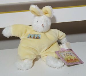 BUNNIES BY THE BAY YELLOW BABY RATTLE BUNNY RABBIT PLUSH TOY 17CM BLOOM