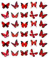 Red Butterflies Cupcake Toppers Edible Wafer Paper BUY 2 GET 3RD FREE