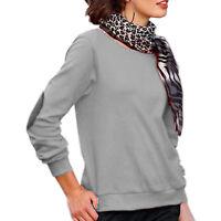 lässiges SWEATSHIRT Sweater PULLOVER Silber GRAU Gr.34/36/38 S Flicken Patches