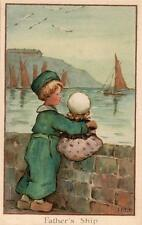 Ivy Millicent James Children Father's Ship Panel Greeting old postcard used 1922