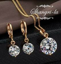 18K GOLD GF Womens SOLITAIRE Wedding NECKLACE SET With SWAROVKSI CRYSTAL EX903