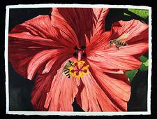 Hibiscus 5, Garden, Red Flower, Bee, Original Watercolor Painting, Signed, Art