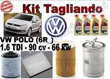 KIT TAGLIANDO OLIO CASTROL EDGE 5W30 + FILTRI VW POLO (6R_) 1.6 TDI 66 KW 90 CV*