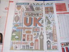 Amo il Regno Unito campionatore cross stitch chart (da rivista) Emma Congdon