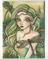 ACEO S/N L/E GREEN FAIRY GIRL EMERALD EYES DRAGONFLY FANTASY FOREST RARE PRINT