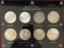 MEXICO MINT SILVER SET OF 8 DIFFERENT COINS FROM 8 REALES TO 100 PESOS!!!