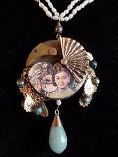 OOAK Steampunk Asian Jade Flower Necklace (Handcrafted Jewelry)