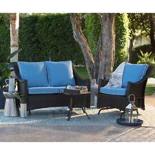Blue Cushion 3 Piece Resin Patio Glider Chair Set Outdoor Home Furniture Garden