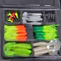 35pcs Soft Worm Fishing Bait Lure + 10PCS Lead Jig Head Hooks High Simulation