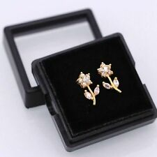 Pretty New 18K Gold Plated White Crystal CZ Flower Stud Earrings