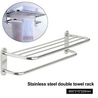 FT- Stainless Steel Wall Mounted Bathroom Towel Rack Rail Holder Storage Shelf T