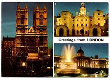London England Postcard United Kingdom Fountain Night Tower Bowater Bldg 1971