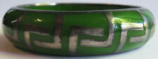 VINTAGE GREEN LUCITE PLASTIC STERLING SILVER DECO DESIGN BANGLE BRACELET
