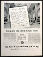 1940 Chicago First National Bank Vintage Advertisement Print Art Ad Poster LG89