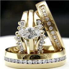 woman & bridal man rings set 14k gold plated 0.9ct Cz engagement wedding