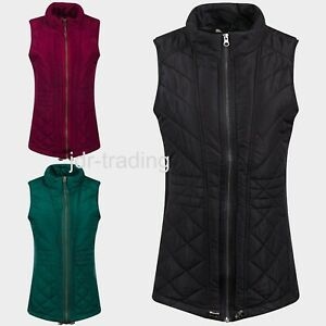 Ladies Warm Winter Wrap Jersey Panel Quilted Padded Gilet Jacket Zip Plus XS-4XL