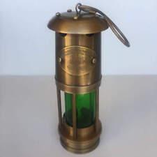 Nautical Brass Starboard Ships Minor Oil Lantern Kerosene Green Vintage 25cm