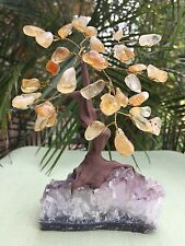 Citrine Tree Bonsai Tree Amethyst Druze Base Gem Tree Wire Wrapped Feng Shui.