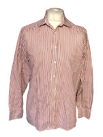 "Men's Nicole MIller New York Formal Shirt Red Striped 15.5"" 39/40 Button"