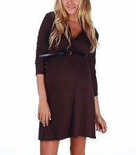 NWT Pinkblush Brown Belted Maternity/Nursing Surplice Dress Size Small