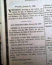 Best KING GEORGE III of the United Kingdom SON'S DEATH 1820 London UK Newspaper
